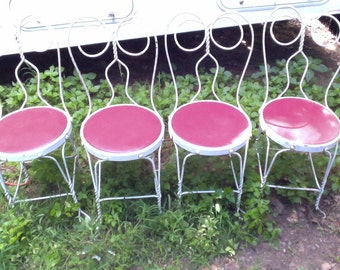 Antique Wrought Iron Ice Cream Parlor Chairs Matching Set of 4