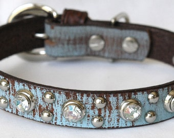 Artisian Leather Brown Dog Collar, with Turquoise Hand Finish and  Crystal Rivets, Dog Collar Leather, for a medium to small size dog.