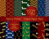 Original Harry Potter Inspired Digital Paper Background Ideal for Scrapbooking - Hogwarts, owl, magic wand, glasses, scar, quidditch, potion