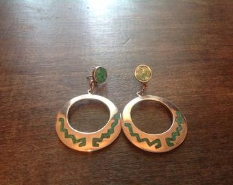 SALE: Beautiful Vintage Mexican Sterling and Turquoise Hoop Earrings Very Boho