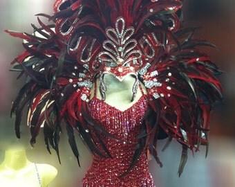 Vegas Showgirl Burlesque Feather Headdress Backpack Costume Set XS-XL
