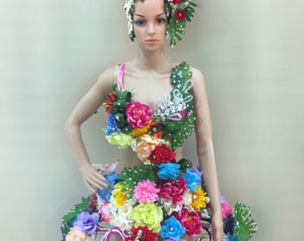 Earth Flower Elegant Headdress and Dress Costume Set XS-XL