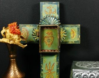 Cross of the Sacred Heart Retablo Style Shrine with Nicho Original
