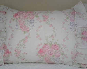Shabby Cottage Chic Ruffled Linen Pillow Cover