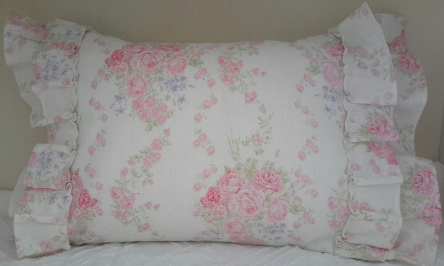 Shabby Chic Ruffle Pillows : Shabby Cottage Chic Ruffled Linen Pillow Cover