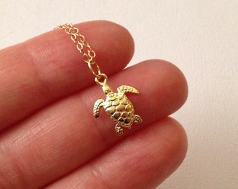 Gold Turtle Necklace  -Gold Sea Turtle Necklace -Hawaii Necklace