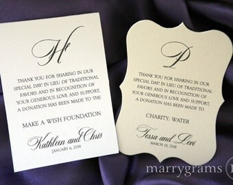 Wedding donation favor cards in lieu of favors reception wedding favor donation cards in lieu of favors reception place card custom donation table stopboris Image collections