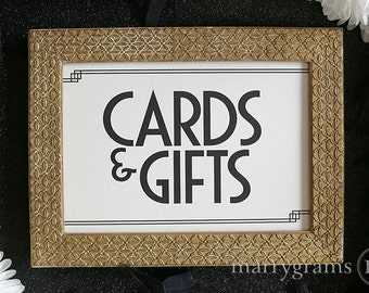 Cards and Gifts Table Sign - Wedding Table Reception Seating Signage - Art Deco, Elegant Matching Numbers Available Card, Gift Sign SS10