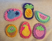 Embroidered Felt Fruit Badges // Brooches