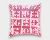 CLEARANCE 70% OFF Candy Pink Greek Key Pillow Cover. 16x16 Inches. Hot Pink and White Decorative Cushion Cover