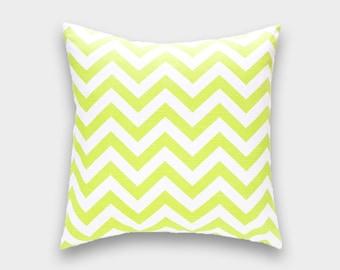 50% off Lime Green Chevron Pillow Cover. 14x14, 16x16, 18x18, 20x20 or Lumbar. Green - Yellow Zig Zag Canal. Pillow Cover.