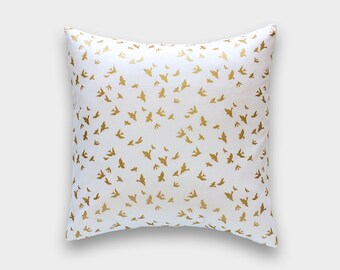 One Metallic Gold Birds Throw Pillow Cover. 16x16, 18x18, or 20x20 Inches. Flying Birds Cushion Cover.