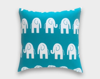 CLEARANCE 50% OFF Turquoise Elephant Pillow Cover. Decorative Pillow. 20 X 20 Inch Toss Pillow. True Turquoise. Baby Nursery.