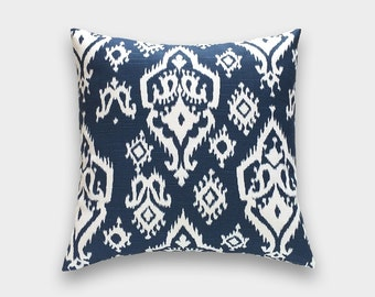 CLEARANCE 50% Premier Navy Blue Raji Ikat Pillow Cover. 20X20 Inches. Cushion Cover.