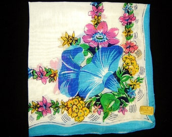 Vintage Floral Motif Hankercheif Hanky Hankie Handkerchief
