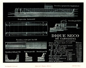 1920s Technical Drawing Dry Dock Port Cartagena Vintage Print