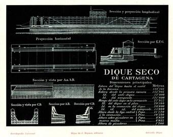 1920s Technical Drawing Dry Dock Port Cartagena Vintage Print