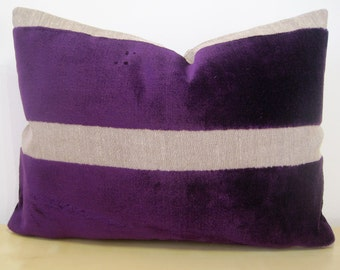 """Small ACCENT Wide stripe PURPLE and LINEN velvet cushion cover. 12x16"""" lumber pillow cover or 30x40cm rectangle cushion cover."""