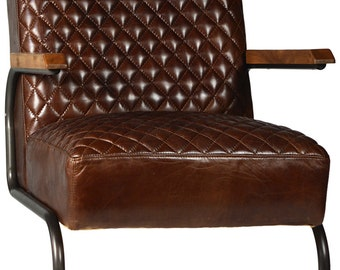 Culver Diamond Tuft Leather Lounge Chair
