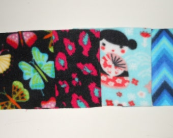 Fun Multi Pack Fleece Squares 6 Inch Shades Of Greens, Turquoise, Teal, Pinks and Various Colors