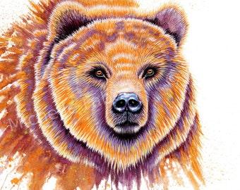 watercolor,print,painting,art,nature,wildlife,animals,animal art,abstract,bear,grizzly,nursery,orange,animal totem,alaska,montana,man cave