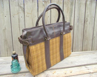 XLG Leather & Plaid TOTE - Over the Shoulder - Adjustable Expandable Zipper Top