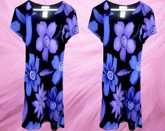 90's Floral Bold Purple Black Grunge Wild Print Dress