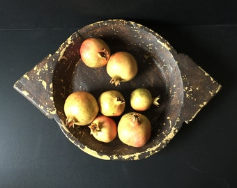 ON SALE Vintage wooden bowl hand carved platter tray fruit veggies display chippy wooden home living kitchen dining centerpiece wall art
