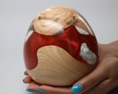 Faberge Inspired Wooden Ostrich Egg Size Decoratively Turned & Carved with Brilliantly Colored Pearl Red - White Resin Inlay - Collectible