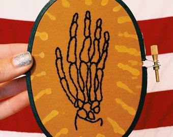 Skeleton Hand Embroidery in Oval Embroidery Hoop