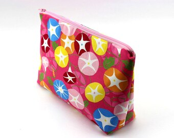 Popin Morning Glory Cosmetic Pouch,Zipperd Medium Pouch,Gift For Her,Travel Pouch, Pink