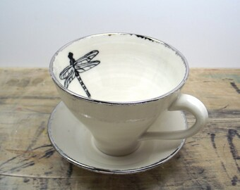 Back in stock in June** White and Silver Dragonfly Porcelain Tea Cup & Saucer or Mug-Hostess Gift, Graduation Gift, Gift for Mom