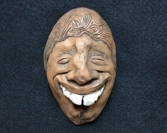 Beautiful Ceramic Face Wall Sculpture /Jamaican/