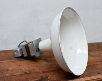 Industrial Enamel White Light - Bryant Vintage Porcelain Light Factory Gas Station Barn Light Edison Metal Shade Hunter White Patina