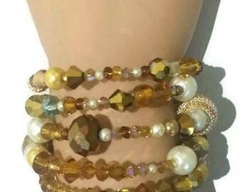 Pearl bracelet champagne crystal wrap bracelet layered gold tones amber baby blue vintage