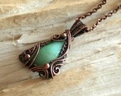Cold Spring - green chrysprase copper wire wrapped pendant OOAK