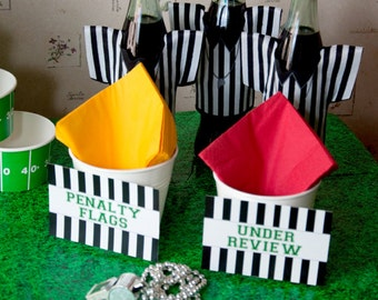 Football, Down Set Hut, Sports Theme, Birthday Party Flat Food Labels