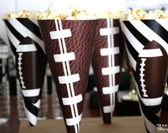 Football Down Set Hut Sports Theme Birthday Party Paper Treat Cones PRINTABLE INSTANT DOWNLOAD