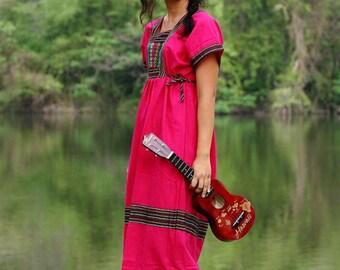 Korean style Karen Dress - Very Pink  /Hippie /Ethnic/Vintage/Whole Sale