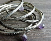 Stacked Silver Bangles: Boho Beaded Bracelet Set, Genuine Amethyst Beads, Engraved Indian Gypsy Jewelry, Bohemian Stackable Bangles, India