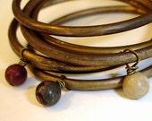 Boho Brass Bracelets: Beaded Indian Boho Jewelry,  Brass Bangles, Bohemian Beaded Bracelet Set, India