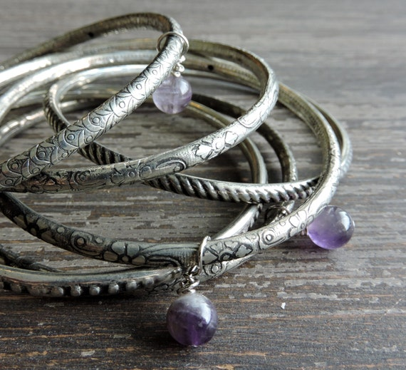 Stacked Silver Bangles: Boho Beaded Bracelet Set, Genuine Amethyst ...