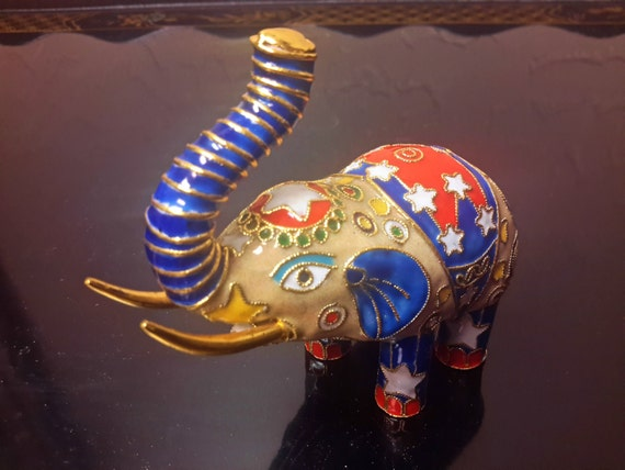 Colorful Enameled Elephant Red White Blue Figurine Collectible
