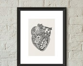 Heart Anatomical Illustration Poster Print Hand Drawn Pen and Ink Giclee Steampunk Heart Gears Art Home Dorm Room Office Decor Gift