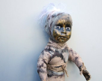 Creepy doll, painted head, creepy cute art, scary doll, mummy figurine, horror dolls, one of a kind, nightmares, evil art doll, OOAK, goth