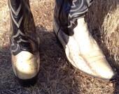 Vintage Black Snakeskin Cowboy Boots