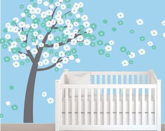 20% OFF SALE Cherry Blossom Tree Decal - Reusable Removable FABRIC Wall Decal  - T120Swa