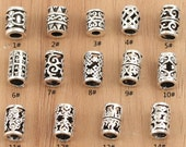 5pcs 925 sterling silver beads,sterling silver mala beads,Thai Silver beads,Thai Silver skull,hill tribe silver beads,tube beads,mala tube