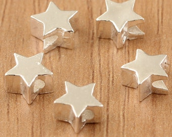 5pcs 925 sterling silver star beads, antique silver beads, star beads bracelet diy, Thai Silver beads, star beads, star necklace diy