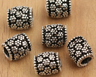 5pcs 925 sterling silver beads, sterling silver barrel, flower beads,Thai Silver beads, Thai Silver tube, hill tribe silver tube beads